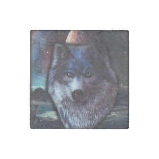 Wolf face in space,Blue wolf painting Stone Magnet