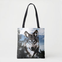 Wolf face in the sky tote bag