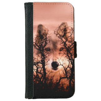 Wolf face in the sky wallet phone case for iPhone 6/6s
