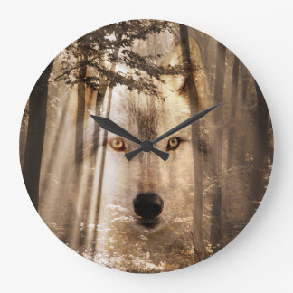 Wolf face in the woods large clock