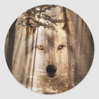 Wolf face in woods classic round sticker