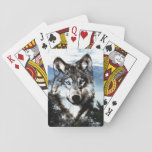 """Wolf face playing cards<br><div class=""""desc"""">Wolf,  or timberwolf,  face over a wilderness snowy mountain background wildlife lovers playing cards</div>"""