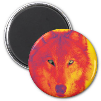 Wolf Face - Red & Yellow 2 Inch Round Magnet