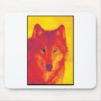 Wolf Face - Red & Yellow Mouse Pad