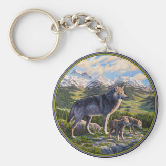 Wolf Family and River Valley Basic Round Button Keychain