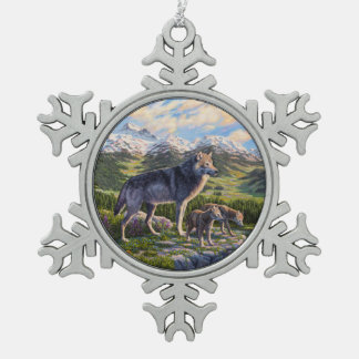 Wolf Family and River Valley Snowflake Pewter Christmas Ornament