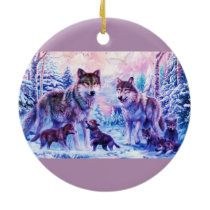 Wolf Family Ceramic Ornament