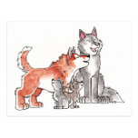Wolf Family Postcard
