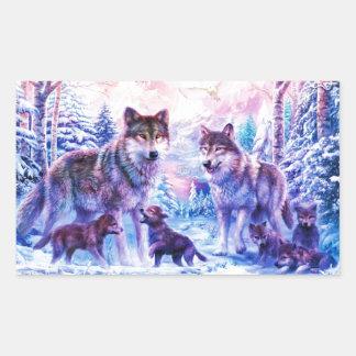 Wolf Family Rectangular Sticker