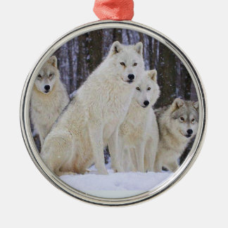 Wolf Family Round Metal Christmas Ornament