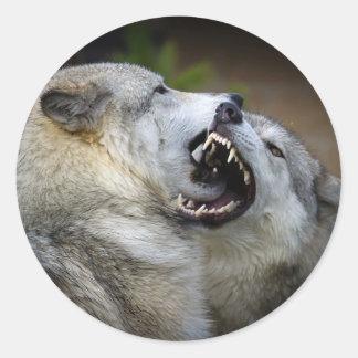 Wolf Fight Classic Round Sticker