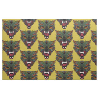 wolf fight flight ochre fabric