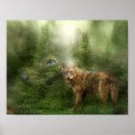 Wolf - Forest Spirit Art Poster/Print