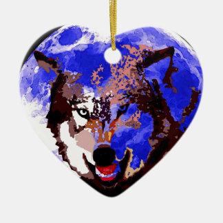 Wolf & Full Moon Ceramic Ornament