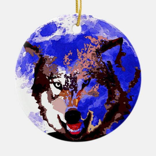 Wolf & Full Moon Ceramic Ornament