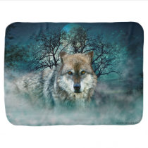 Wolf Full Moon in Fog Baby Blanket