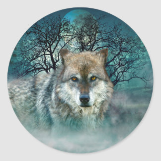 Wolf Full Moon in Fog Classic Round Sticker