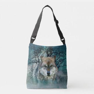 Wolf Full Moon in Fog Crossbody Bag