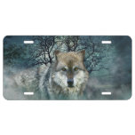 Wolf Full Moon in Fog License Plate