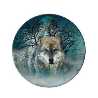Wolf Full Moon in Fog Porcelain Plates