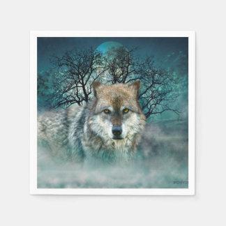 Wolf Full Moon in Fog Napkin