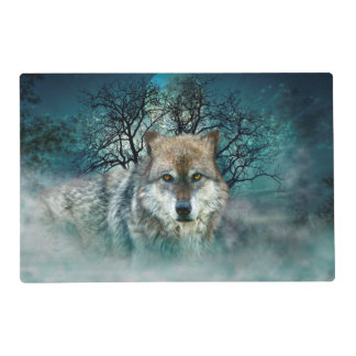 Wolf Full Moon in Fog Placemat