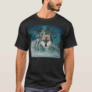 ironydesignphotos Wolf Full Moon in Fog T-Shirt