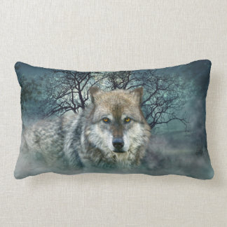 Wolf Full Moon in Fog Throw Pillow