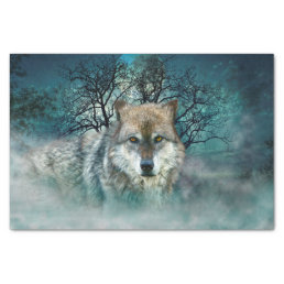 Wolf Full Moon in Fog Tissue Paper