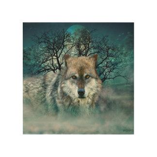 Wolf Full Moon in Fog Wood Wall Decor