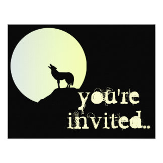 wolf full moon personalized announcement