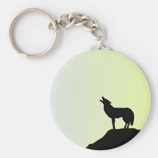wolf full moon keychain