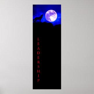 Wolf & Full Moon Leadership Poster Print