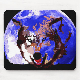 Wolf & Full Moon Mouse Pad
