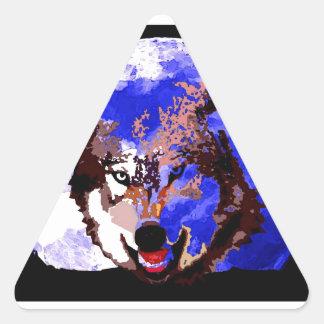 Wolf & Full Moon Triangle Sticker