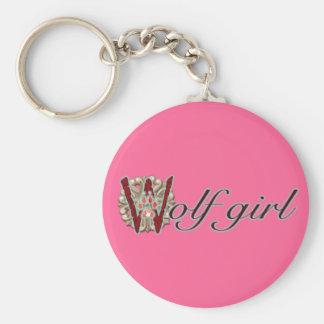 Wolf Girl Basic Round Button Keychain