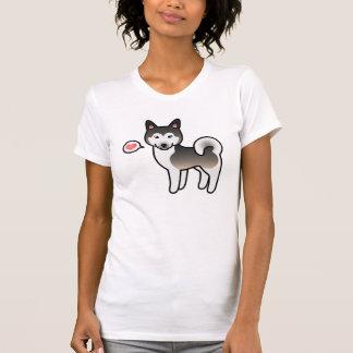Wolf Grey Alaskan Malamute Cartoon Dog And A Heart T-Shirt