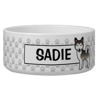 Wolf Grey  Alaskan Malamute Cartoon Dog Bowl