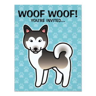 Wolf Grey Cartoon Alaskan Malamute 4.25x5.5 Paper Invitation Card