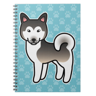 Wolf Grey Cartoon Alaskan Malamute Spiral Note Book