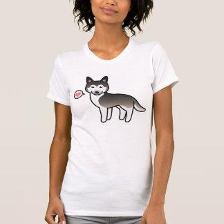 Wolf Grey Cartoon Siberian Husky Love Tee Shirts