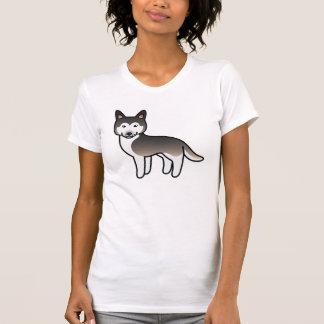 Wolf Grey Cartoon Siberian Husky T Shirts