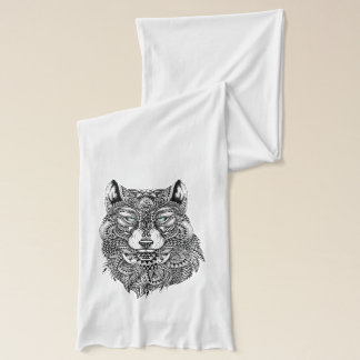 Wolf Head Black Detailed Illustration Scarf