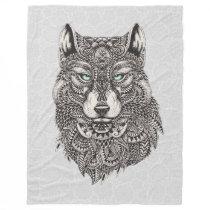 Wolf Head Detailed Abstract Illustration Fleece Blanket