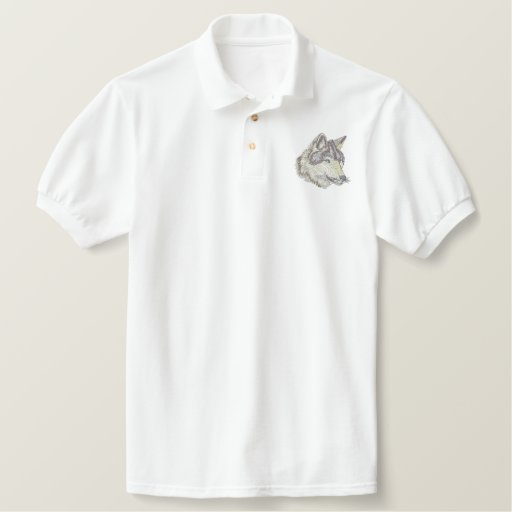 Wolf Head Embroidered Polo Shirt