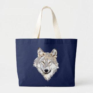 Wolf head head canvas bag