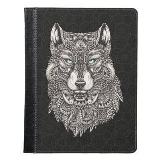 Wolf Head Illustration On Black iPad Case
