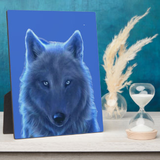 Wolf head Neon Blue Plaques