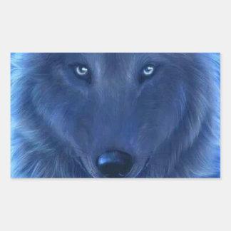Wolf head Neon Blue Rectangular Sticker