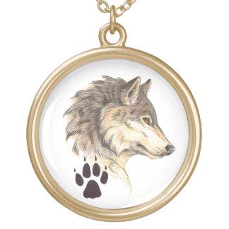 Wolf Head Profile Round Pendant Necklace